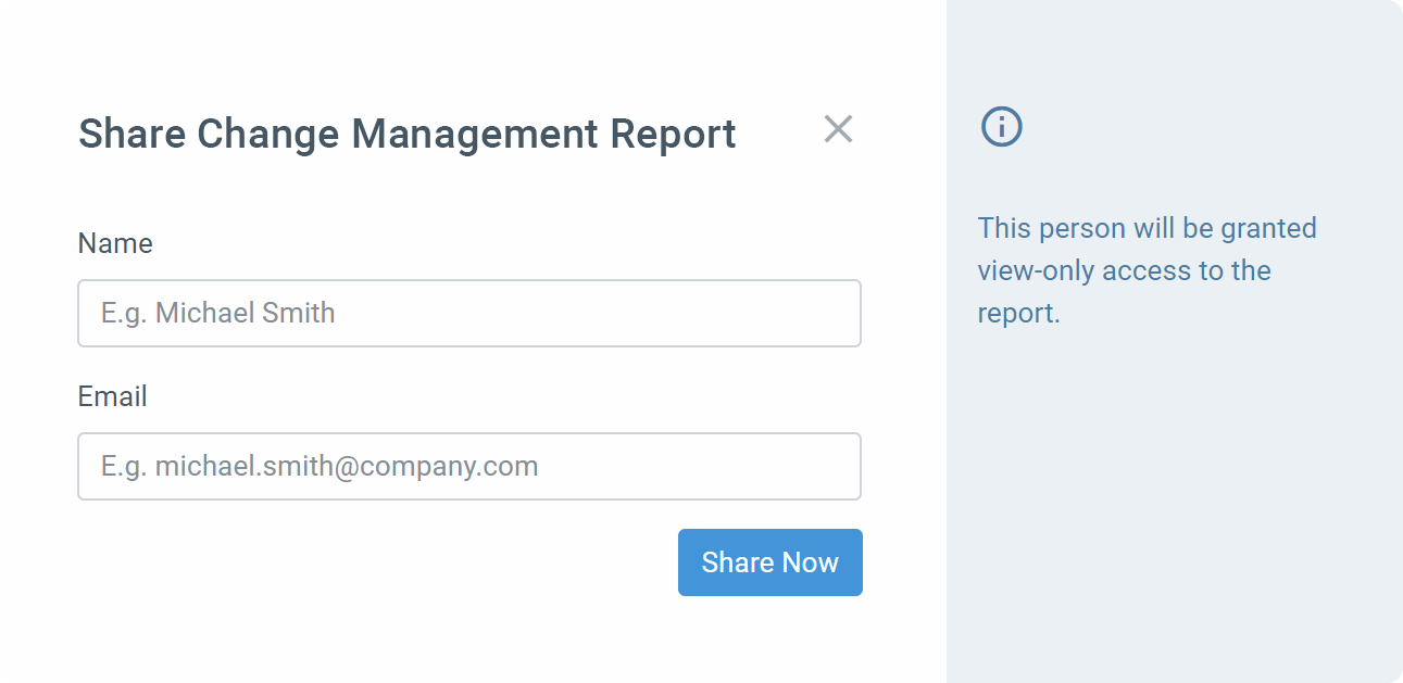 Share Report modal